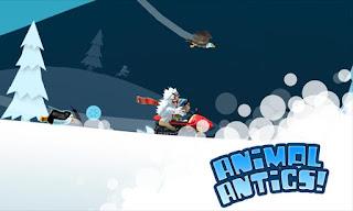 Game runner yang menggunakan elemen agresi berseluncur menuruni bukit curam Unduh Game Android Gratis Ski Safari 2 apk