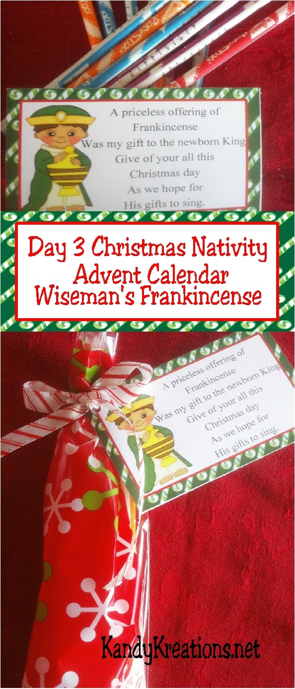 Celebrate the Christ child this Christmas with a sweet nativity advent calendar to give to those you love this holiday.  Day three is the Christmas wise man who shares his gift of frankincense and the hope of Christ's gifts.