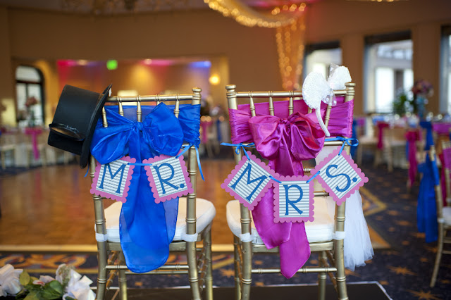 Mr and Mrs Chair Signs - Disneyland Wedding {Sarina Love Photography}