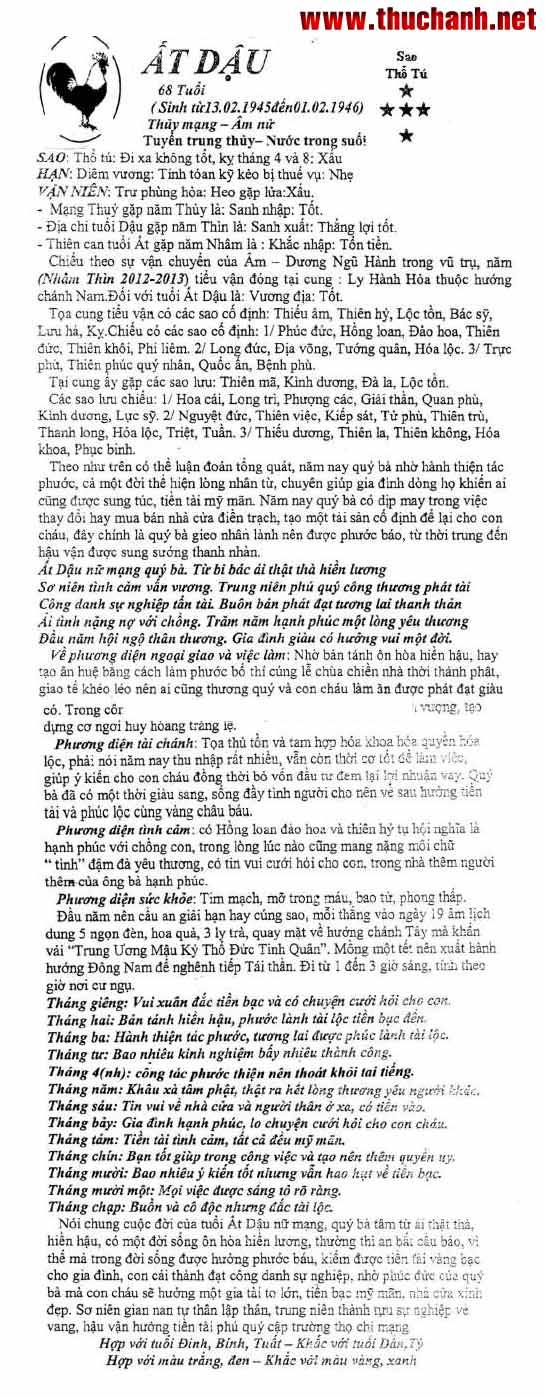 vi tuổi Ất Dậu nữ mạng - Thái Ất tử vi 2012 Nhâm Thìn