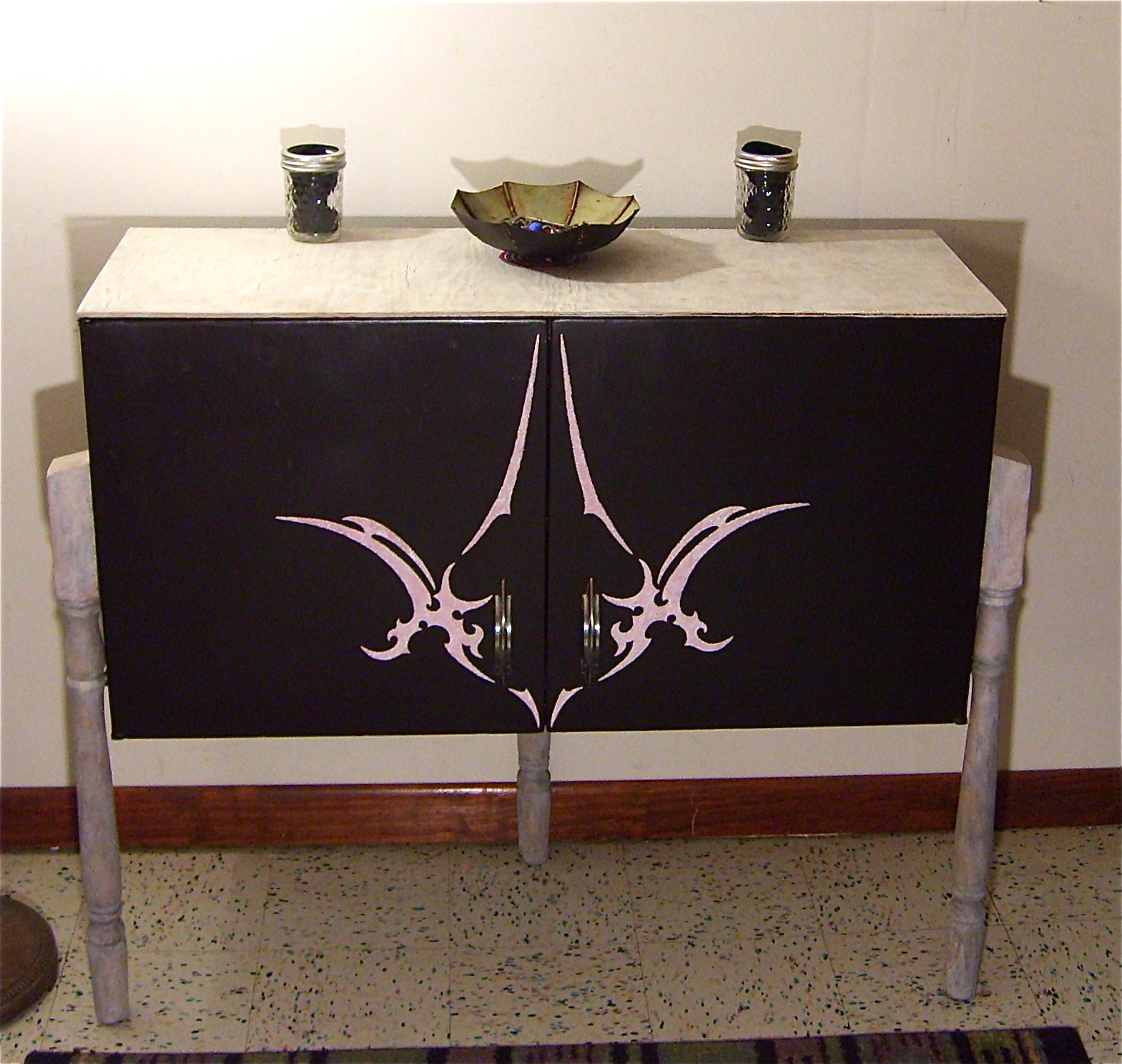 Tribal Tattoo Furniture: Kitchen Cabinet Upcycle. Full resolution  image, nominally Width 1569 Height 1488 pixels, image with #8E653D.