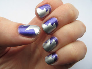 Barry M Silver Foil and Sally Hansen Deep Purple Scotch tape starburst manicure