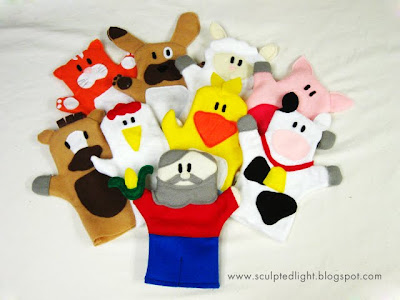 Farm animal puppets. Front view.