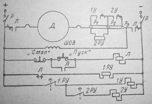 Схема пуска электродвигателя параллельного возбуждения с применением реле времени