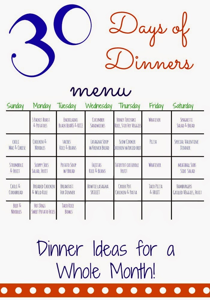 The chirping moms 30 days of dinners another month of for Ideas for dinner menu