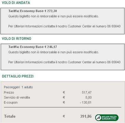 voli low cost sconti Alitalia