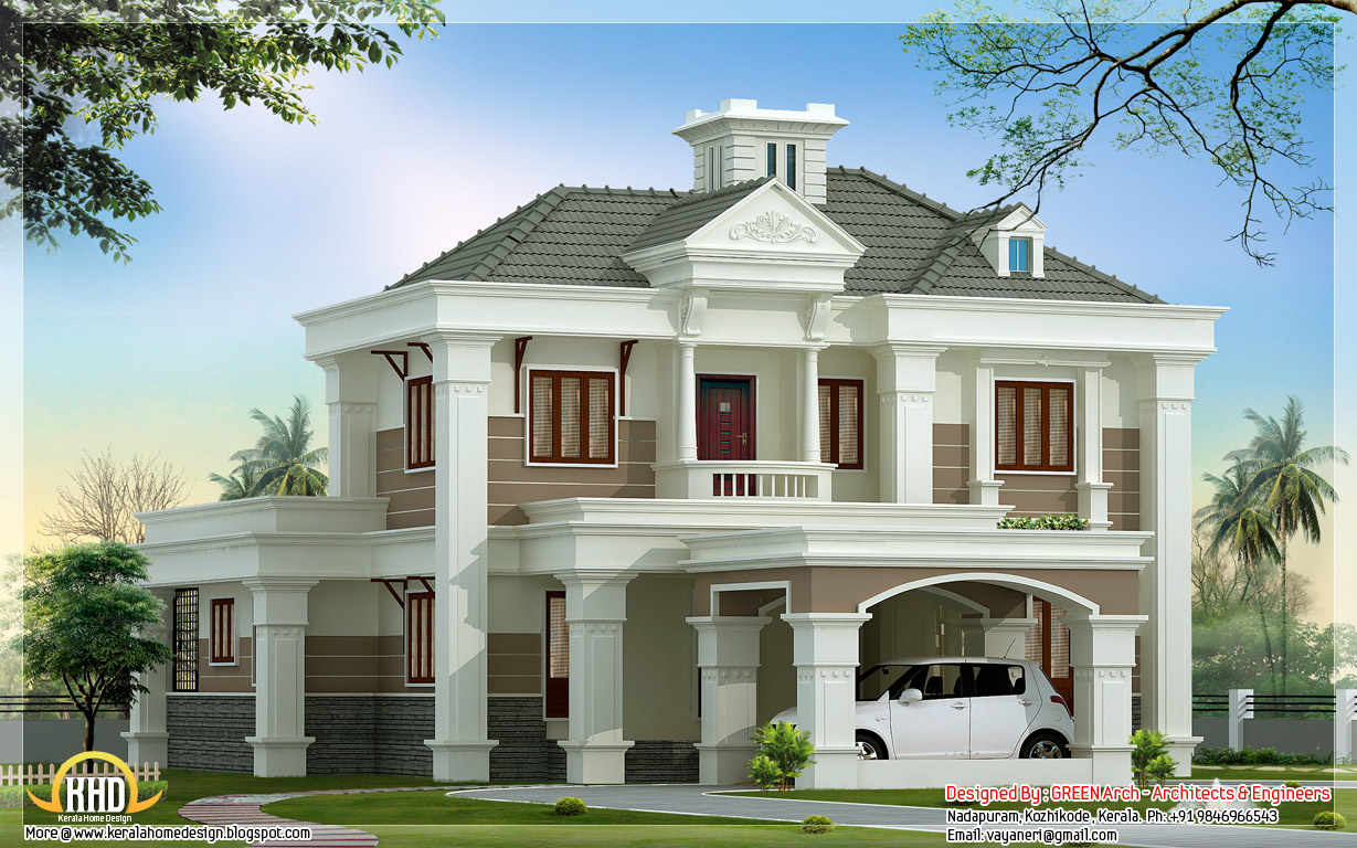 Beautiful double floor home design 2500 kerala for House beautiful house plans