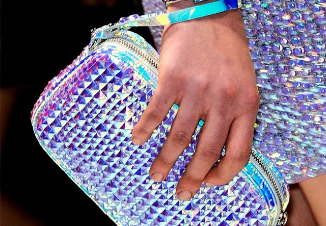 blumarine spring 2013 hologram clutch, hologram bag