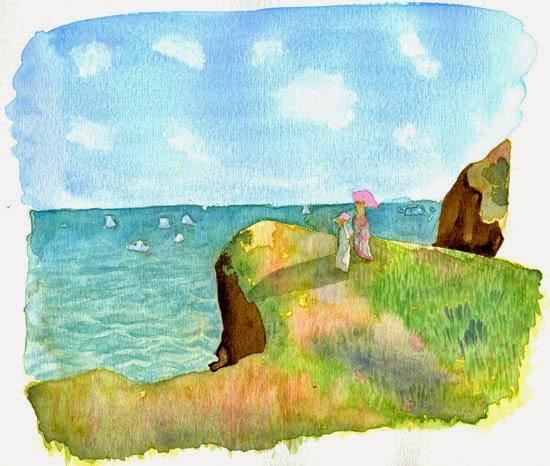 """Tableau de Monet à l'aquarelle """"Promenade sur la falaise, Pourville"""""""
