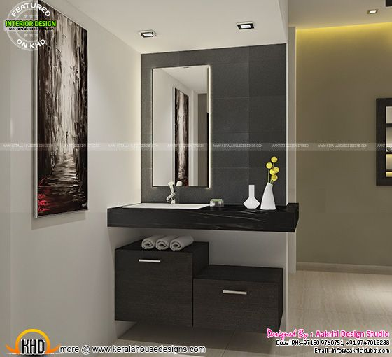 Interior Design For Kitchen In Kerala: Dining, Kitchen, Wash Area Interior