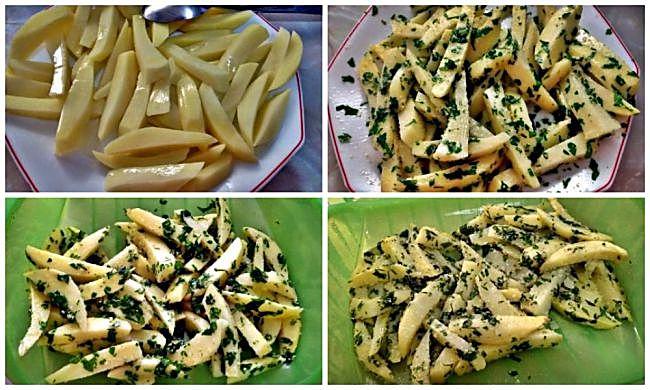 Preparación de las patatas con ajo y perejil en recipiente lékué