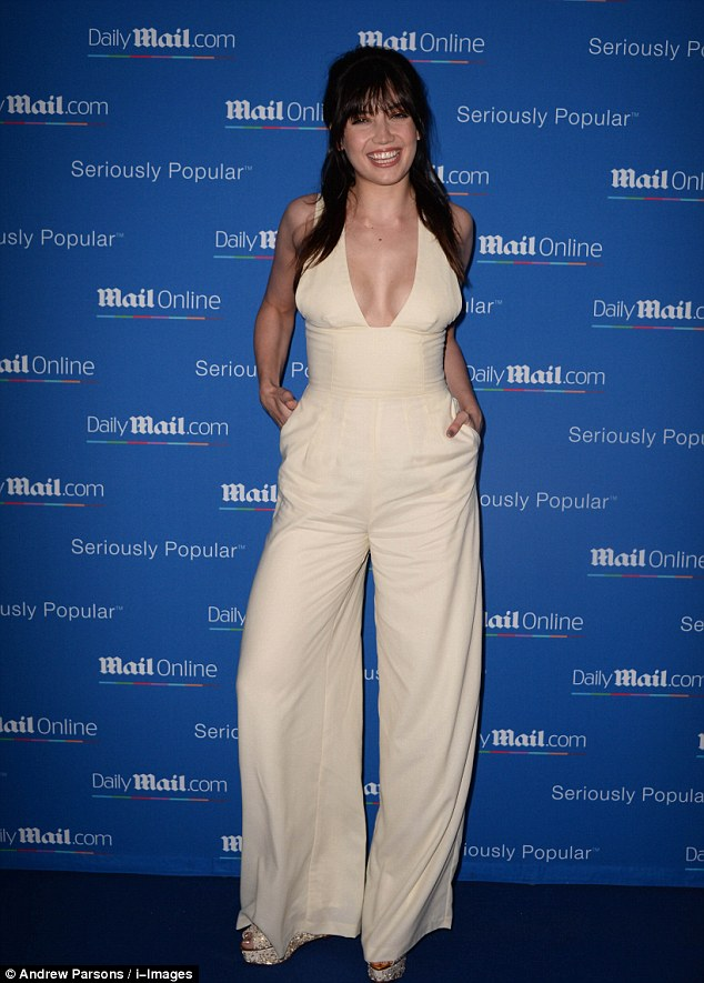 Daisy Lowe in a plunging jumpsuit at the MailOnline Yacht Party in Cannes