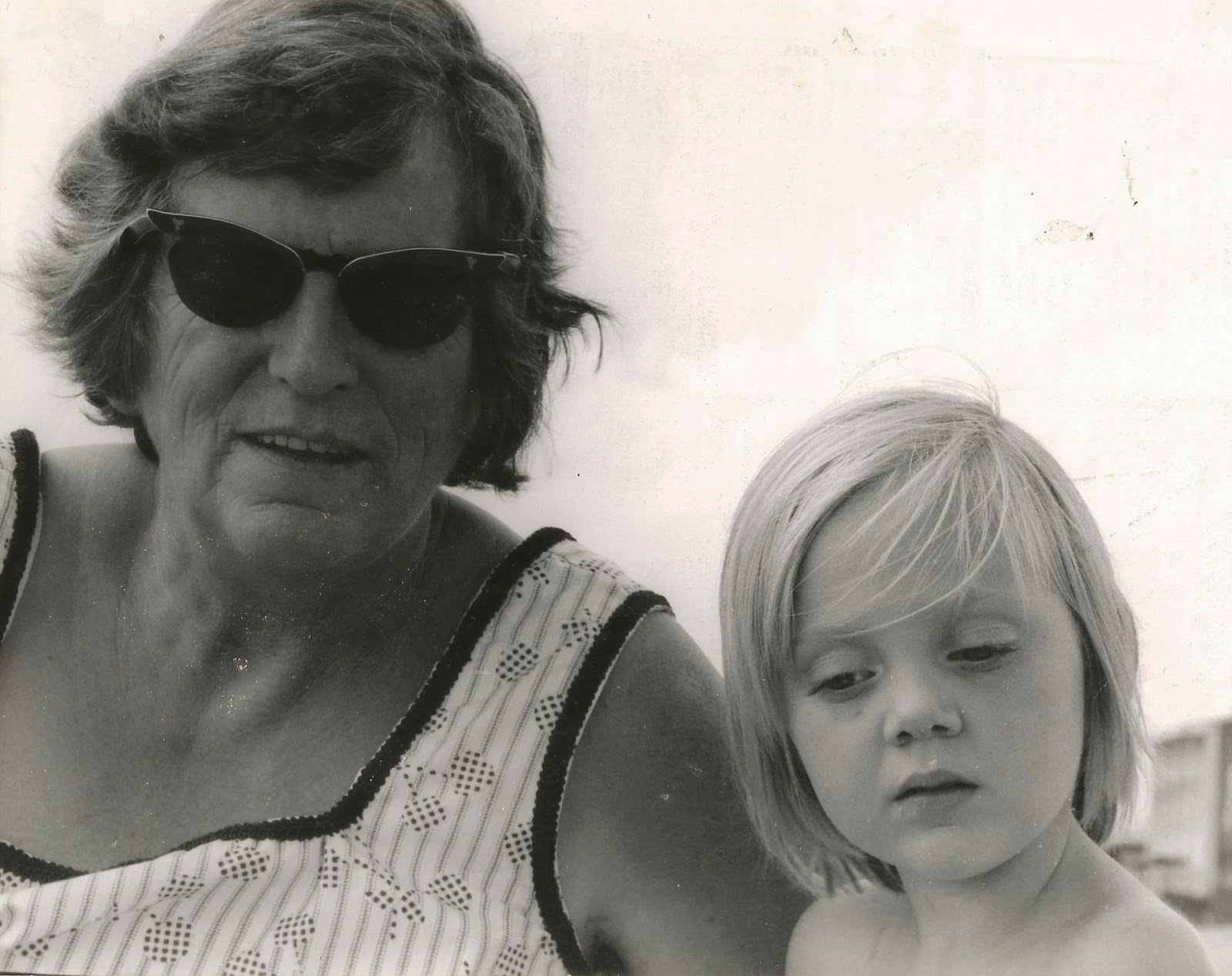 vintage girl and grandmother 1970s