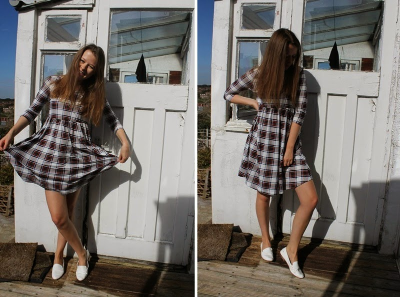 ootd, outfit, smock dress, tartan, blogger, fashion, style, primark, zara, loafers, white, autumn