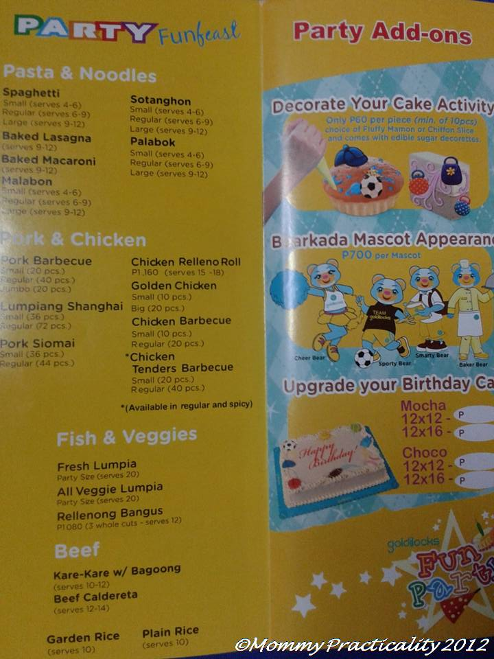 Goldilocks Cake City Kiddie Party Packages