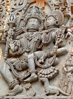 Shiva-Parvati, the cosmic couple ancient stone carving