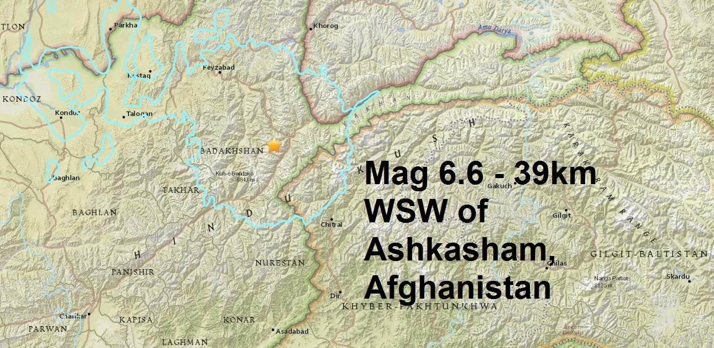 A magnitude 6.6 - 39km WSW of Ashkasham, Afghanistan is the eighth major quake of April...