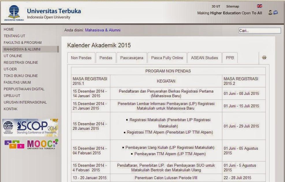 Kalender Akademik Tahun 2015 Universitas Terbuka Ut Pangkalpinang