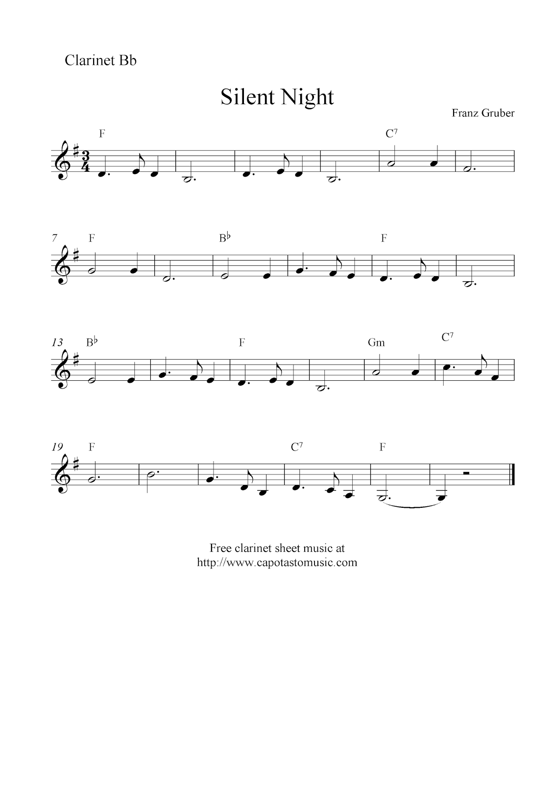 Silent night free christmas clarinet sheet music notes