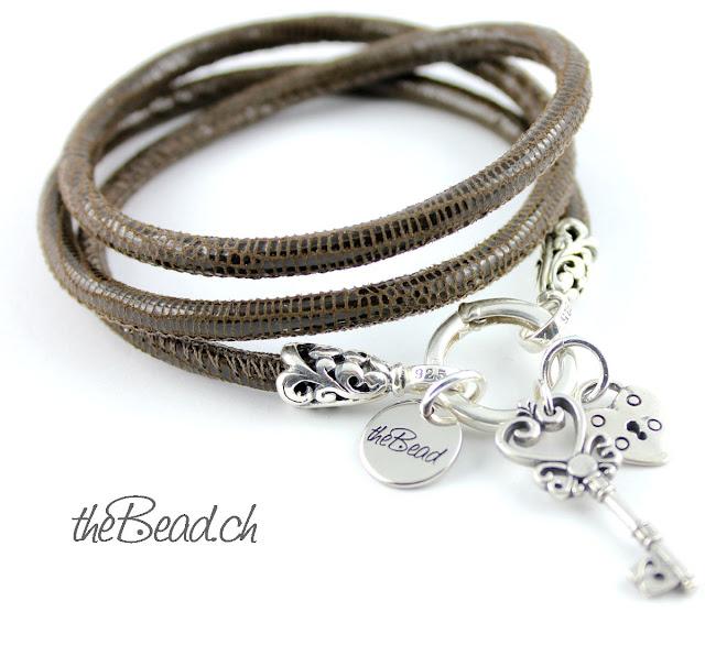 Damen Armband aus Silber mit Schlüssel Herz