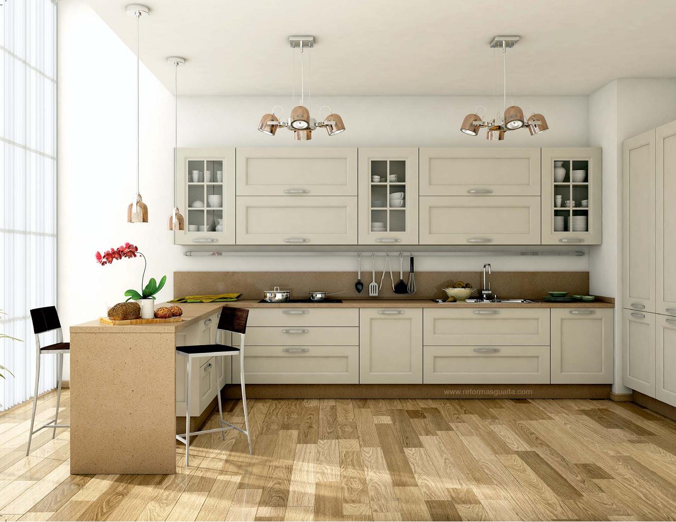 Cocina Blanca Azulejos Beige – Gormondo.com