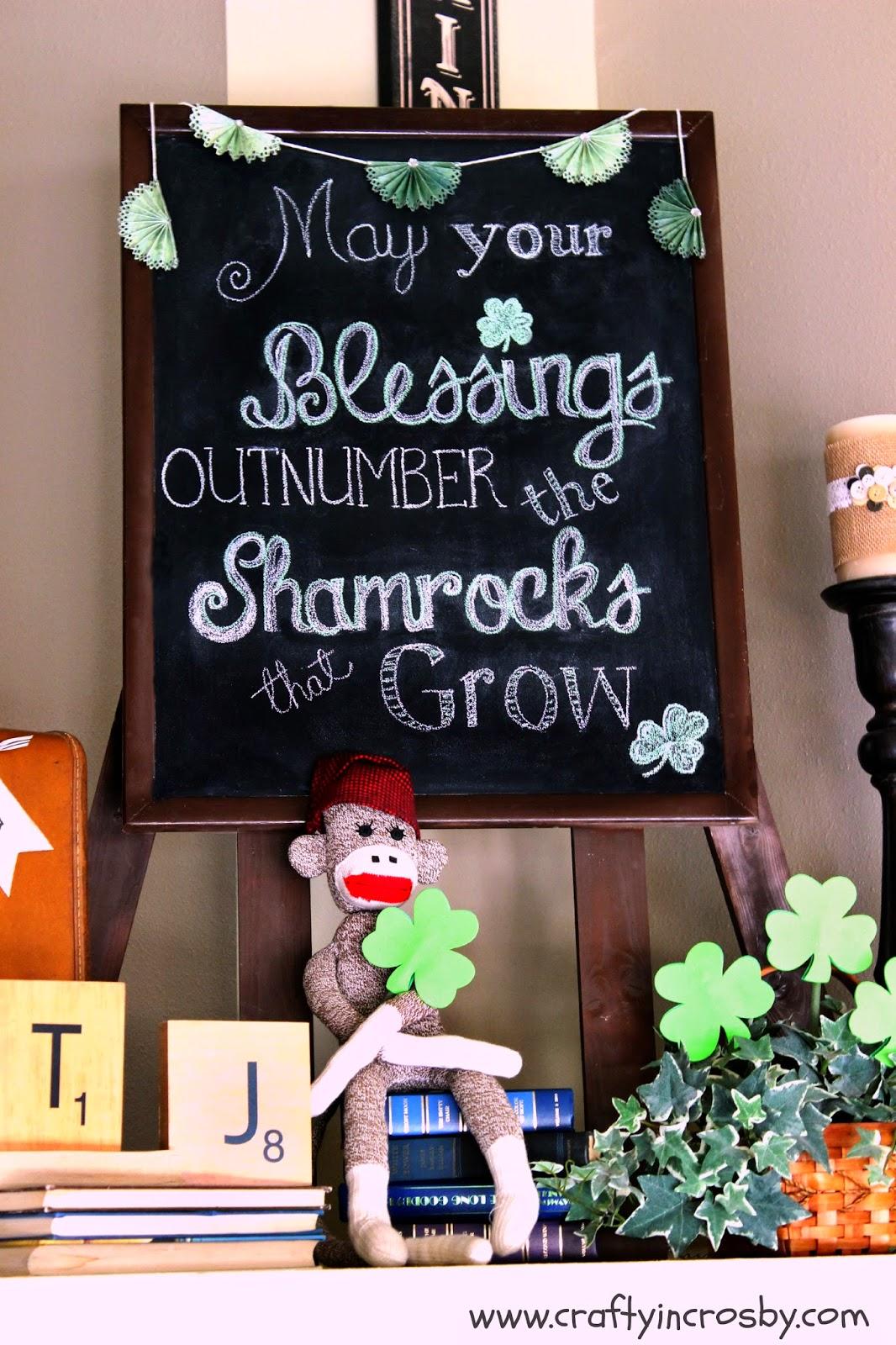 shamrocks, Irish Blessing, St. Paddy's Day, chalkboard art, chalkboard DIY