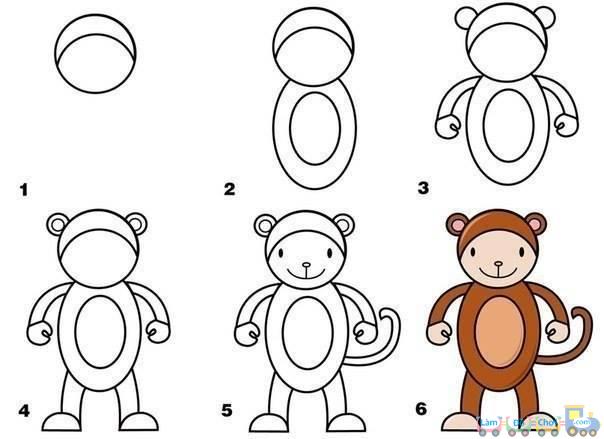 Vẽ chú khỉ đơn giản