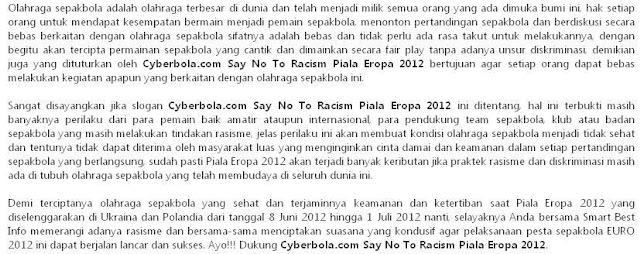 Artikel Cyberbola.com Say No To Racism Piala Eropa 2012_2