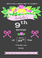 printable birthday party invitation floral charcoal grey