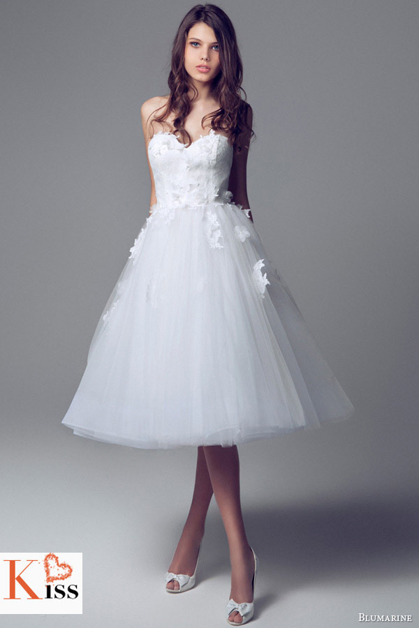Simple Lace Vintage Tea-length 2014 Wedding Dresses Collection From Blumarine