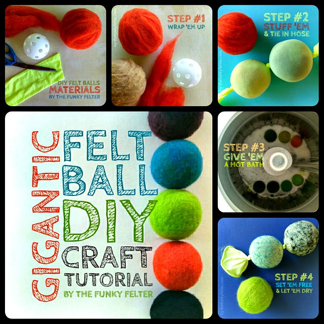 diy giant felt wool ball craft instructographic photo tutorial