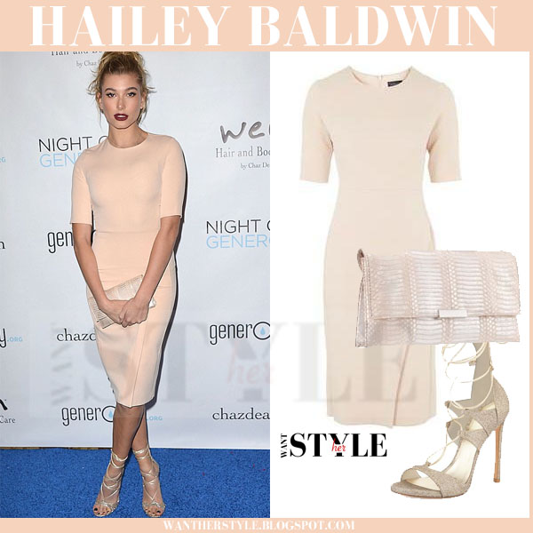 Hailey Baldwin in pale pink midi topshop dress with gold strappy stuart weitzman sandals what she wore model style