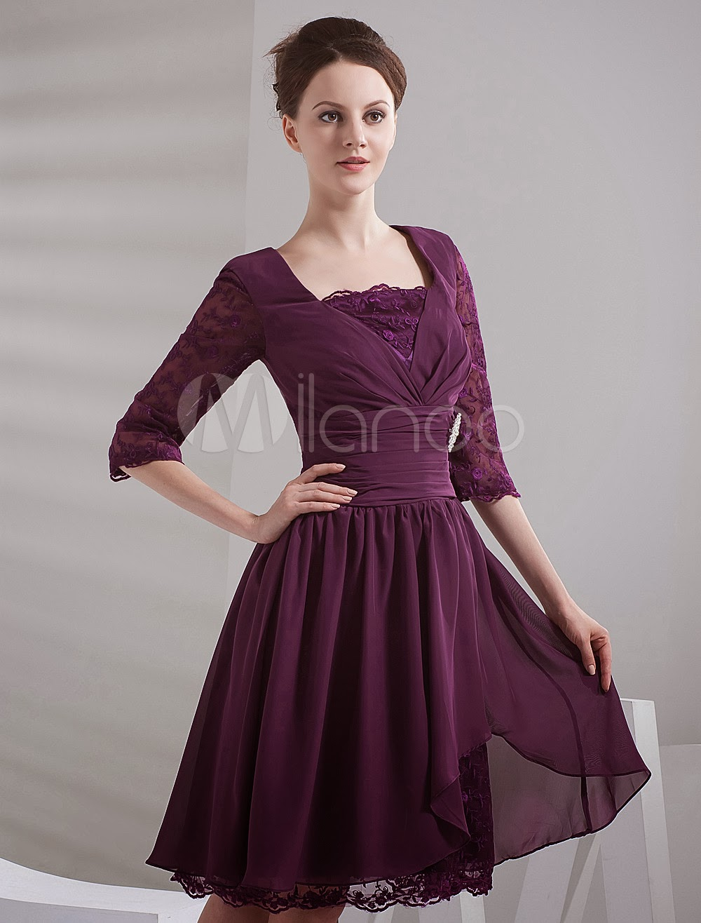 China Wholesale Clothes - Grape Square Neck Half Sleeves Knee Length Chiffon Prom Dresses