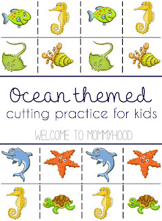 FREE Ocean animal cutting practice printable from Welcome to Mommyhood, #summeractivitiesforkids, #freemontessoriprintables, #montessori, #freeprintables, #toddleractivities, #preschoolactivities