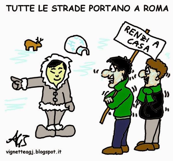 leghisti, lega, roma, manifestazione, satira, vignetta