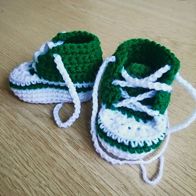 crochet baby converse style high top booties handmade wool yarn newborn