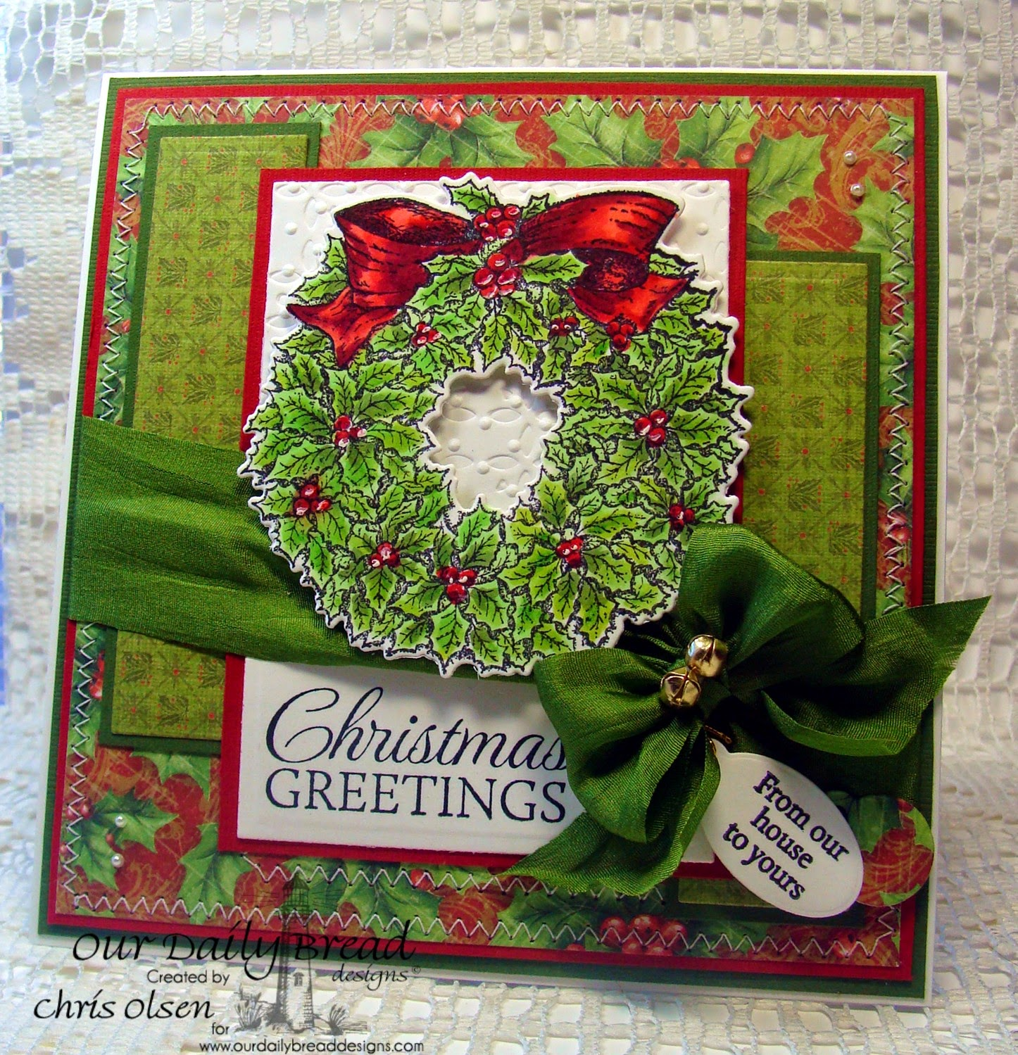 Our Daily Bread Designs, Let it Snow, Mini Tag Sentiments, Mini Tag dies, Holly wreath die, designer-Chris Olsen