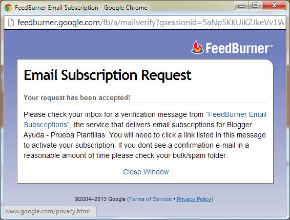 Suscripción por email aceptada en FeedBurner