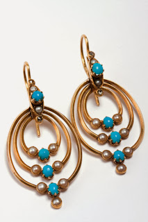 Gold, turquoise and pearl earrings