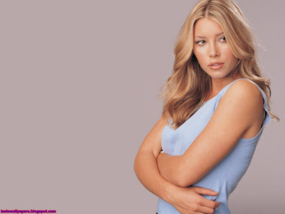 Jessica Biel beautiful HQ blue top babe wallpaper