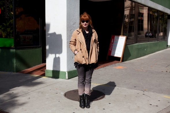 red head fall style ombre jeans black boots tan jackets street style 2013 womens fashion southern style angels point of view
