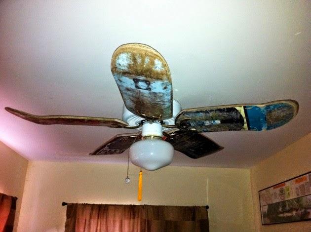 تزيين مروحة السقف بألواح رياضة التزلج