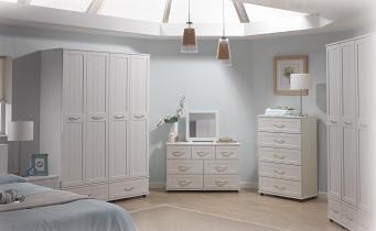 Dormitorio blanco, elegante diseño