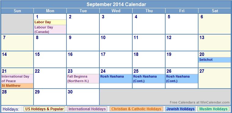 September 2014 Calendar Printable With Holidays Printable Calendar