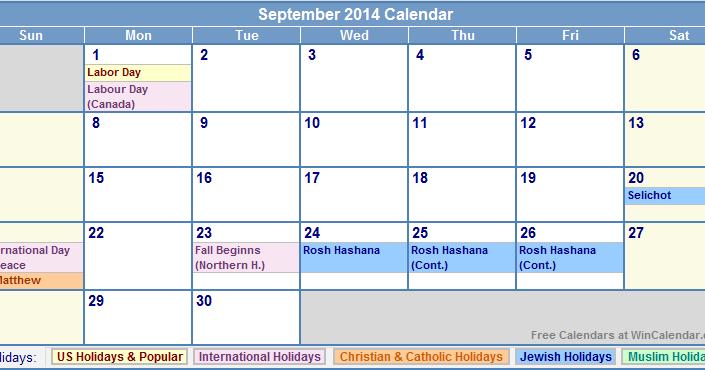 September 2014 calendar printable with holidays
