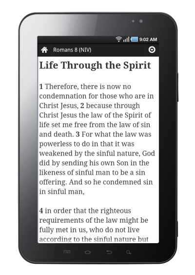Romans 8 displayed in the YouVersion Bible App