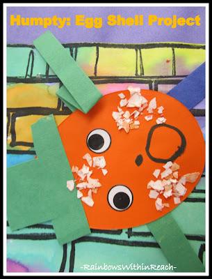 photo of: Nursery Rhyme Art Project using Egg Shells for Humpty Dumpty (preschool project)