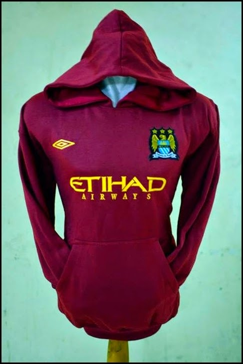 Jumper Hoodie Bola Polos (Satu Warna) - Manchester City Merah Maroon