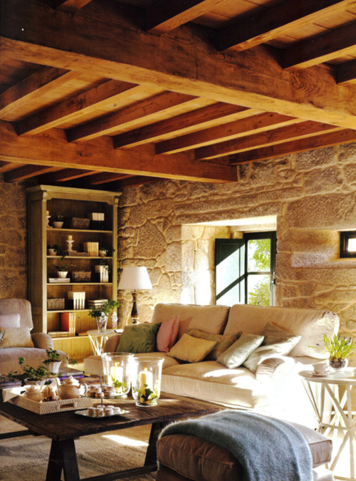 The Thick Stone Walls And Completely Exposed Beamed Ceiling