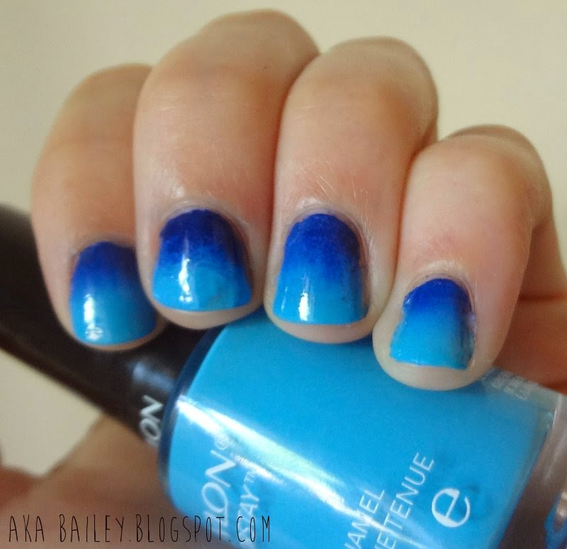 Blue ombre nails Revlon Coastal Surf polish